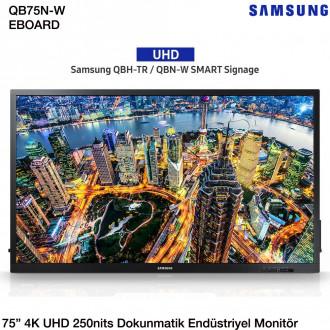 """Samsung QB75N-W 75"""" 250 nits 4K UHD eBoard Dokunmatik Endüstriyel Monitör - LH75QBNWLGC/EN"""